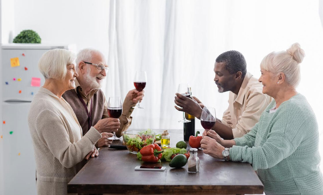 people socializing with wine