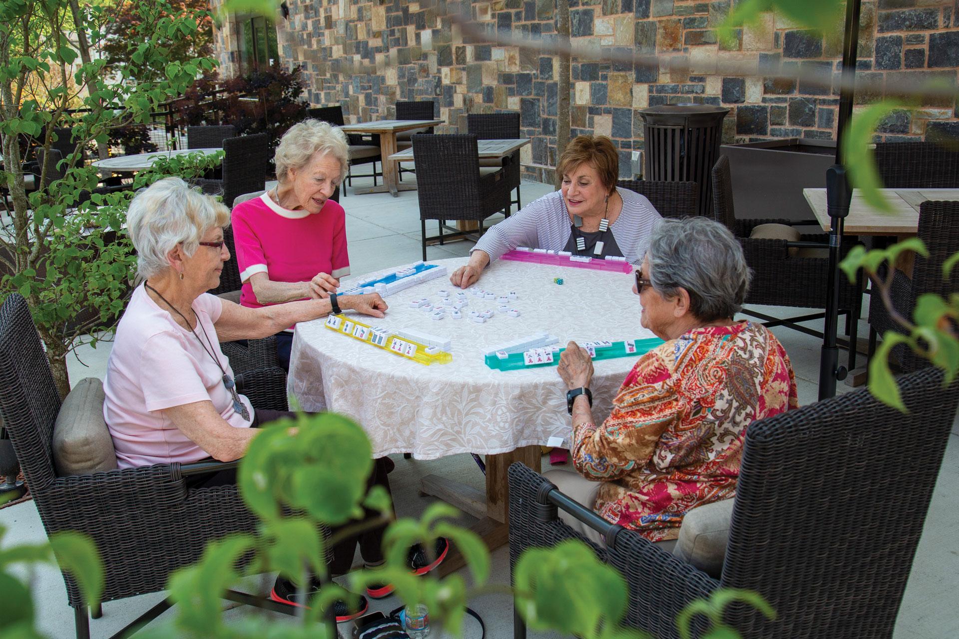 women playing mahjong
